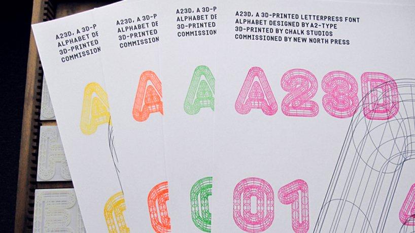 3D Printed Letterpress Typeface  A2D3