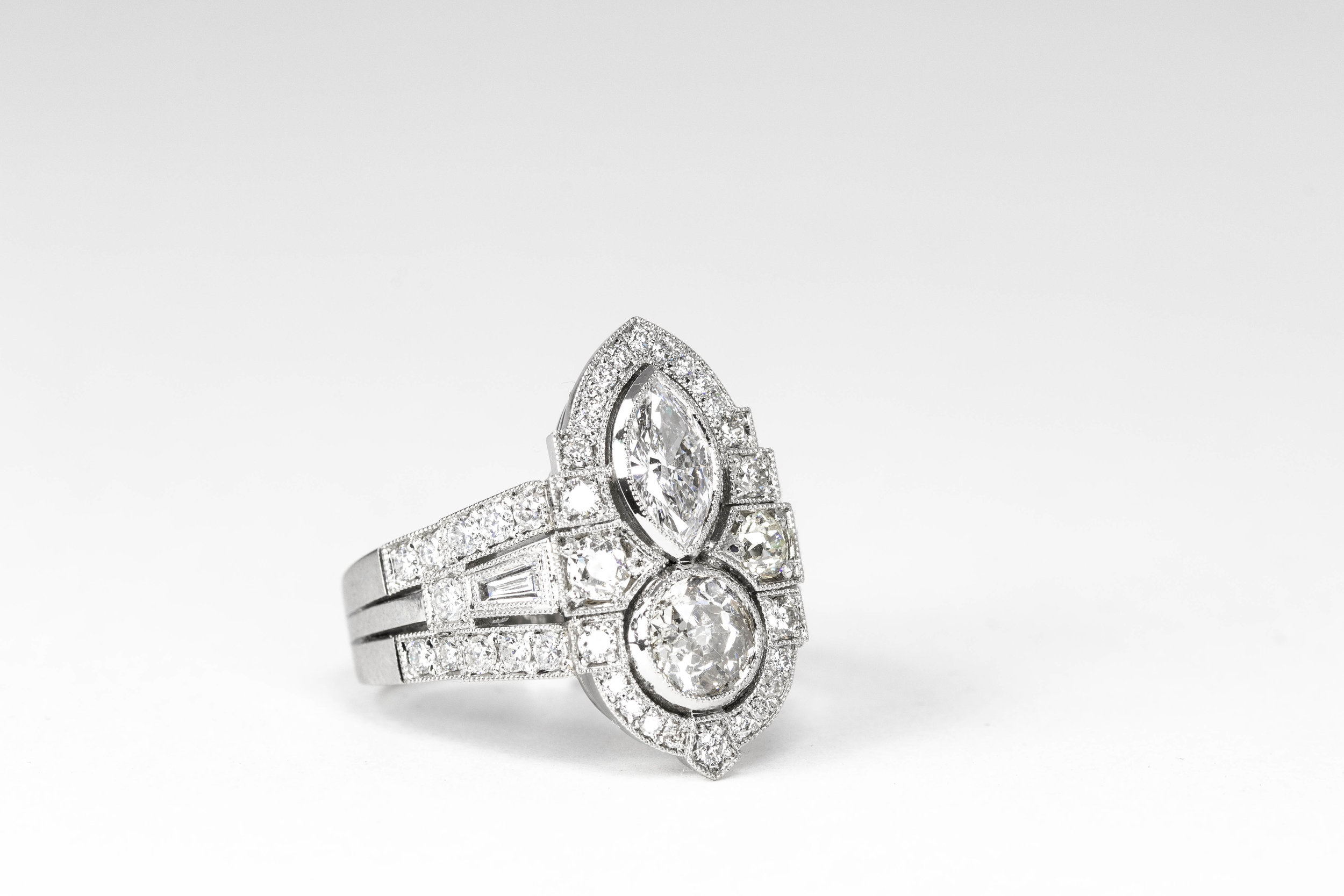 Copy of The finished platinum and diamond ring.