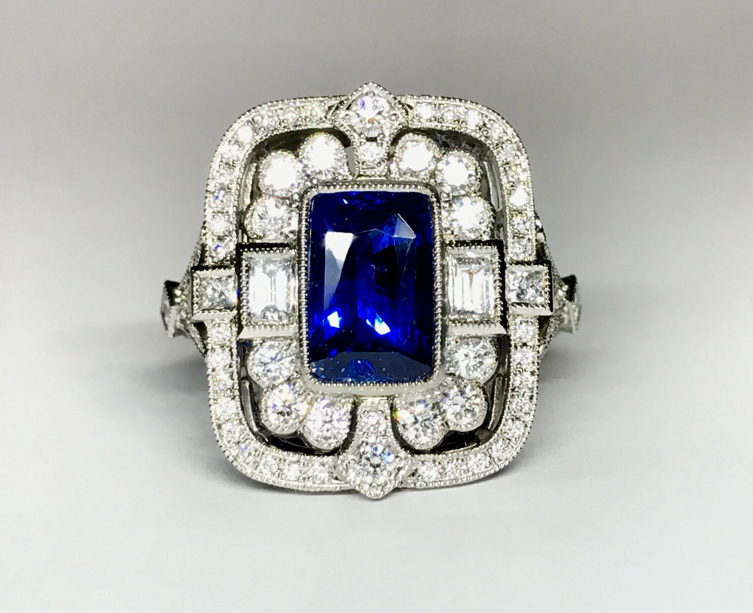 Beautiful 2.36ct oblong sapphire and diamond Edwardian style cluster ring. Made in Chichester, England.
