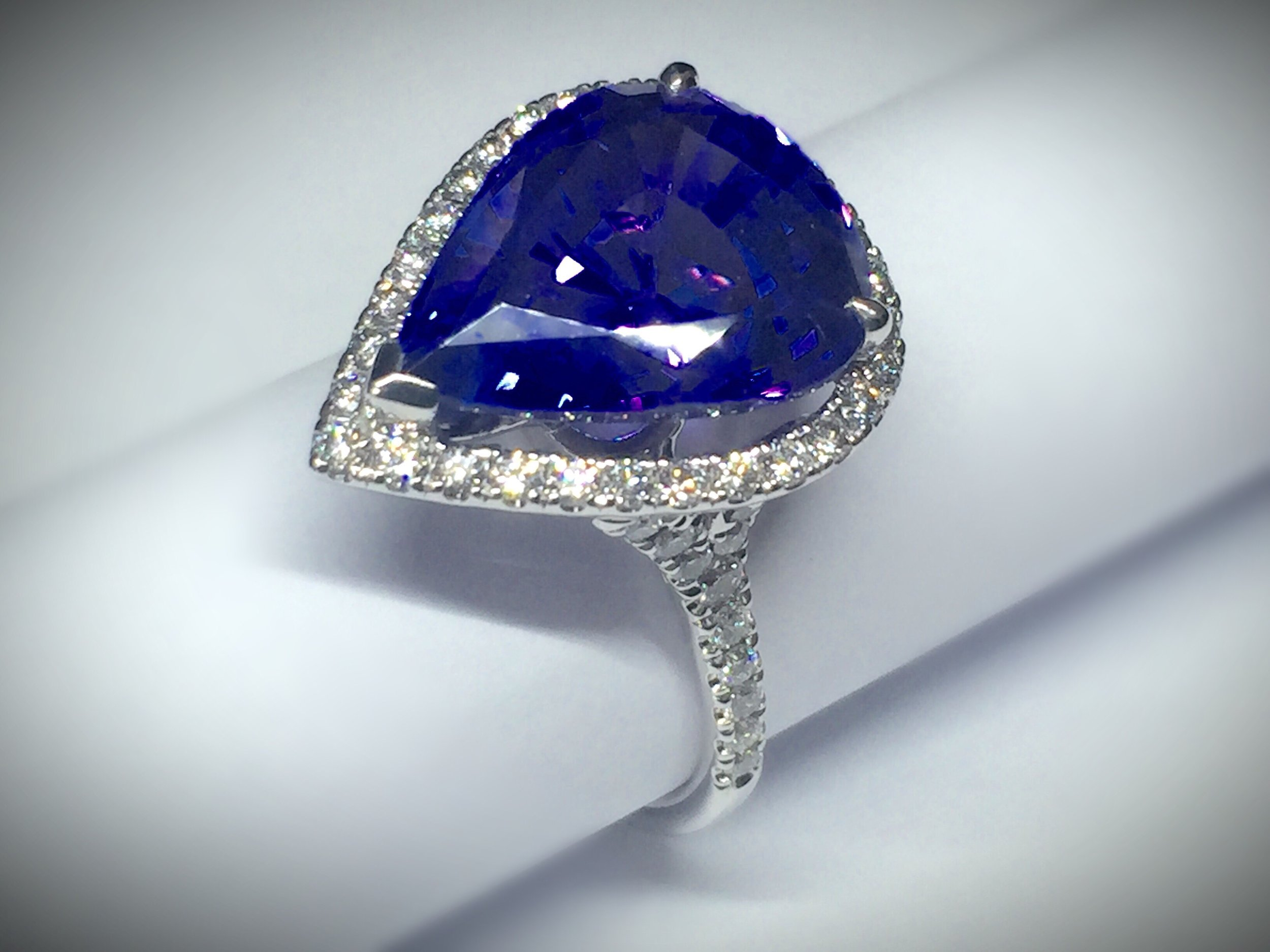 Copy of 8.63ct pear shaped tanzanite and diamond ring. Made in Chichester, England.