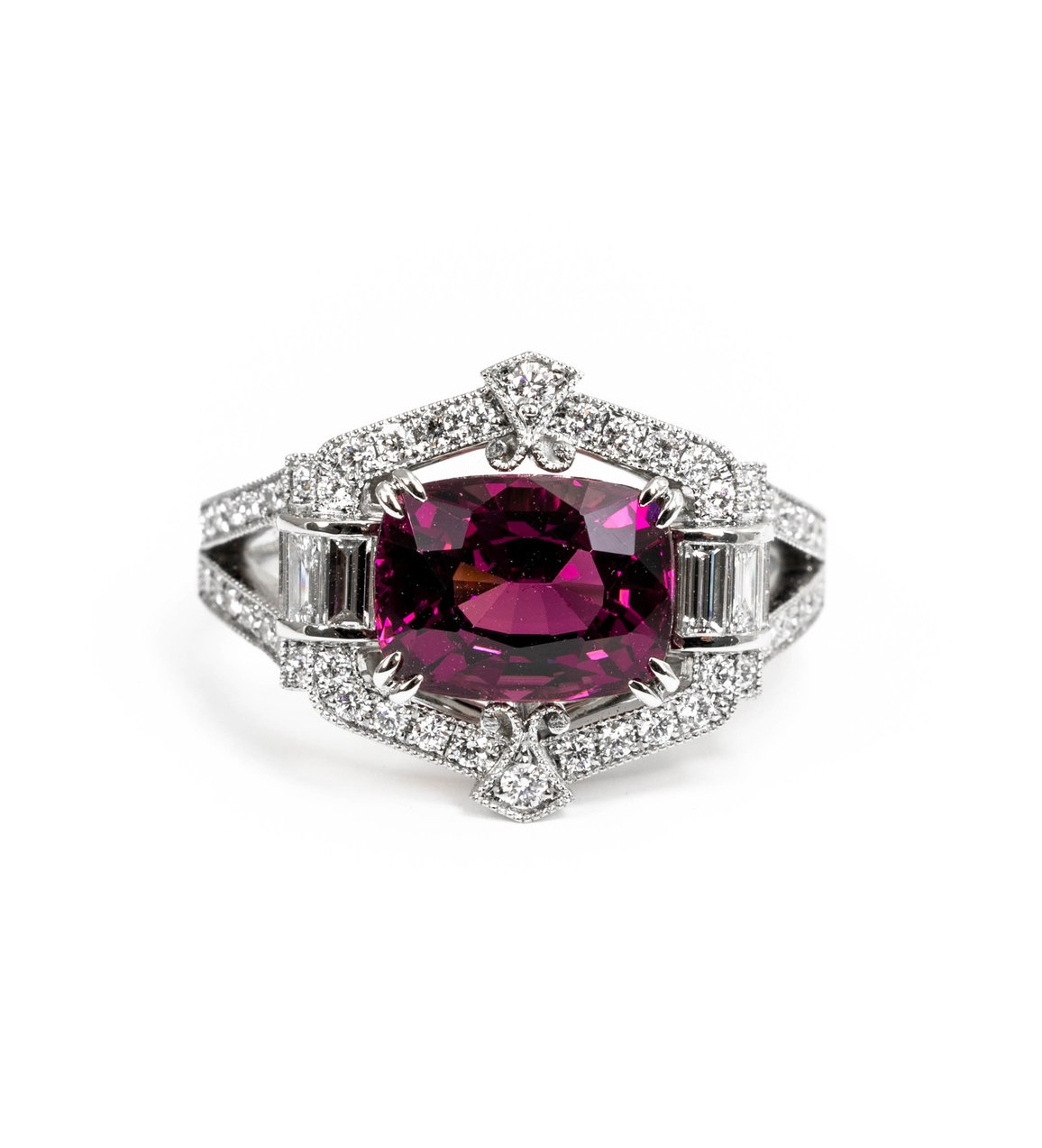 3.08ct grape garnet in Art Deco style mount. Made in Chichester, England.