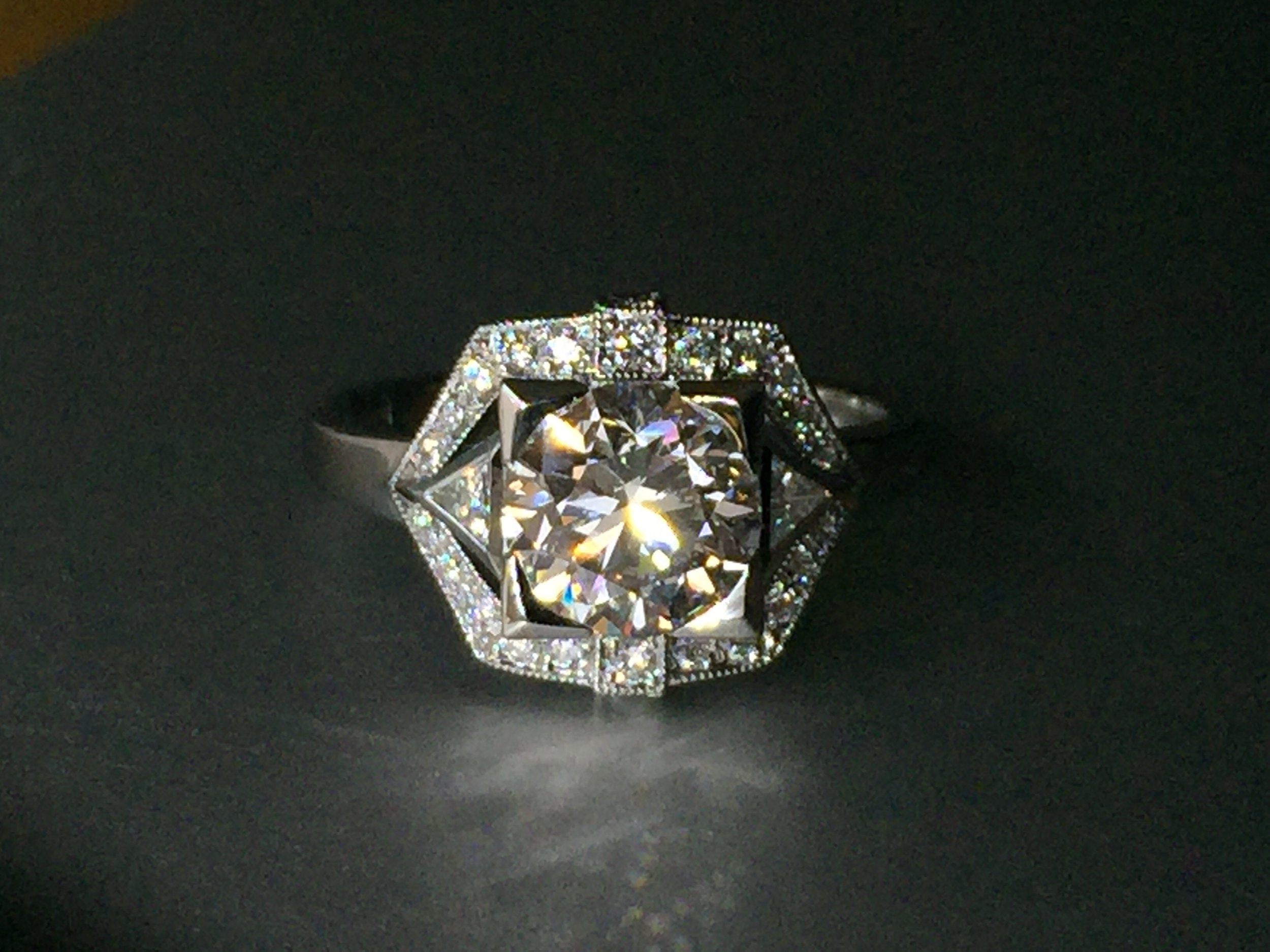 Copy of Art Deco style diamond cluster ring. Made in Chichester, England.