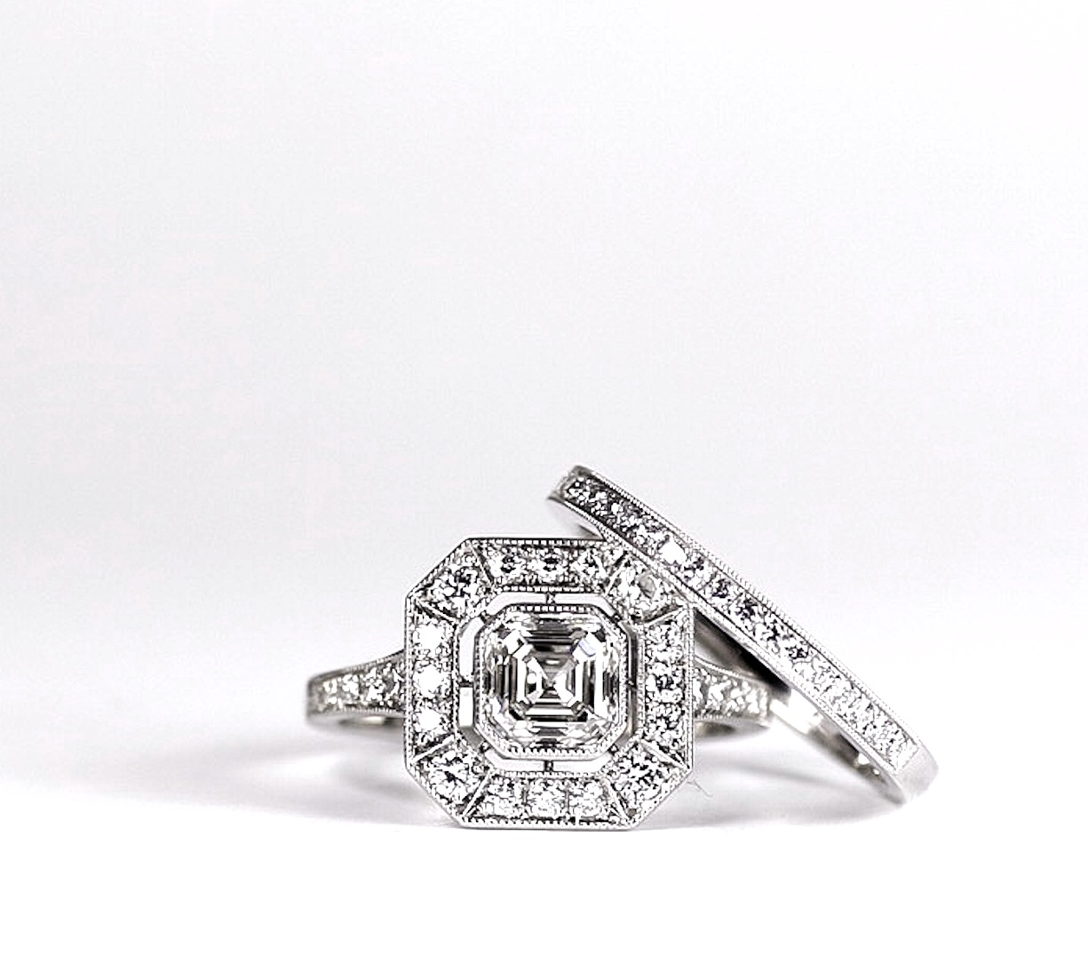 Copy of Asscher cut octagonal 1920's style cluster. Made in Chichester, England.