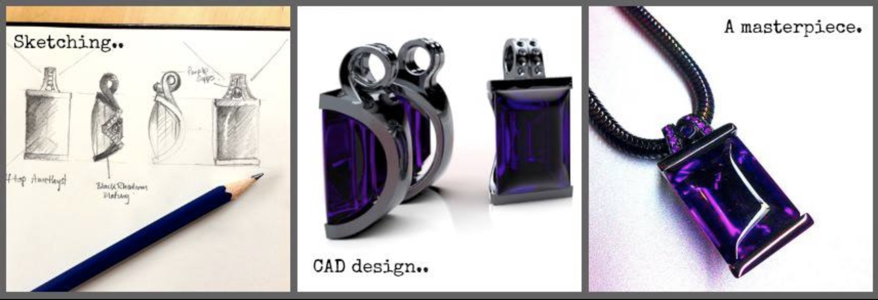 An amazing buff top rectangular amethyst set pendant with ruthenium plated silver mount and chain.