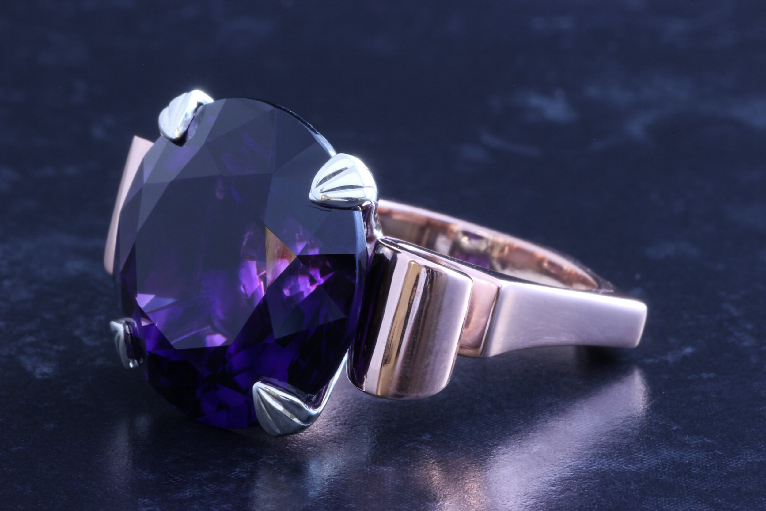 Large deep purple amethyst set cocktail ring. Made in Chichester, England.