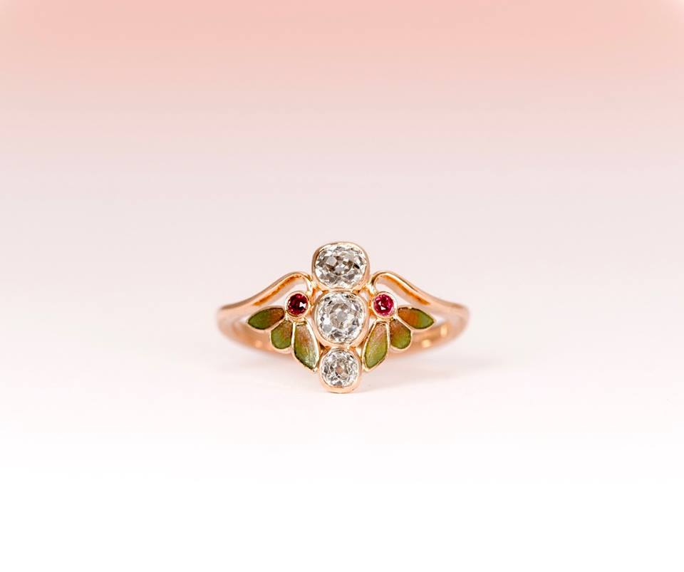 The finished ring was a breathtaking success, capturing an Art Nouveau style using the customers antique diamonds, new rose gold and incredible hand enamelling.