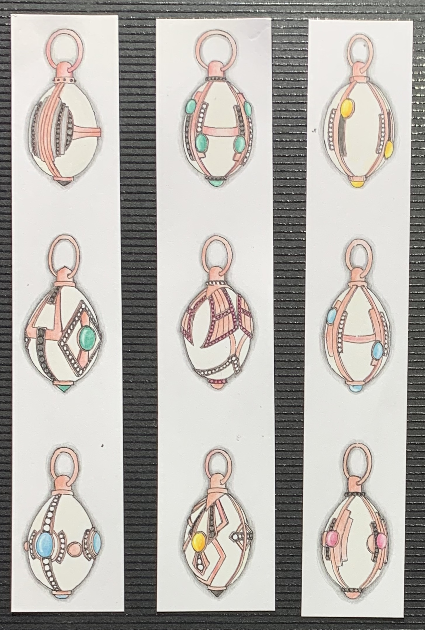 Pendant designs for a frame to hold a rock crystal egg