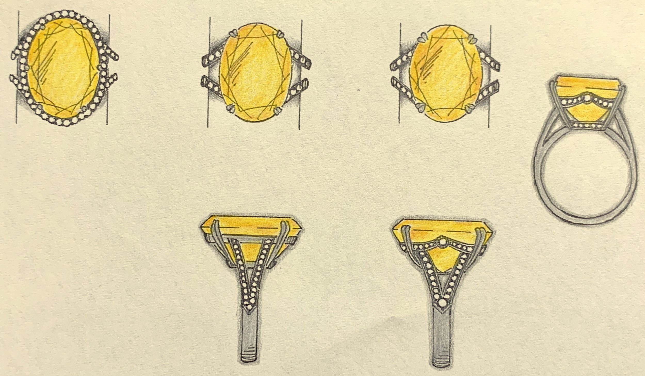 Sketches for an oval yellow sapphire ring mount.