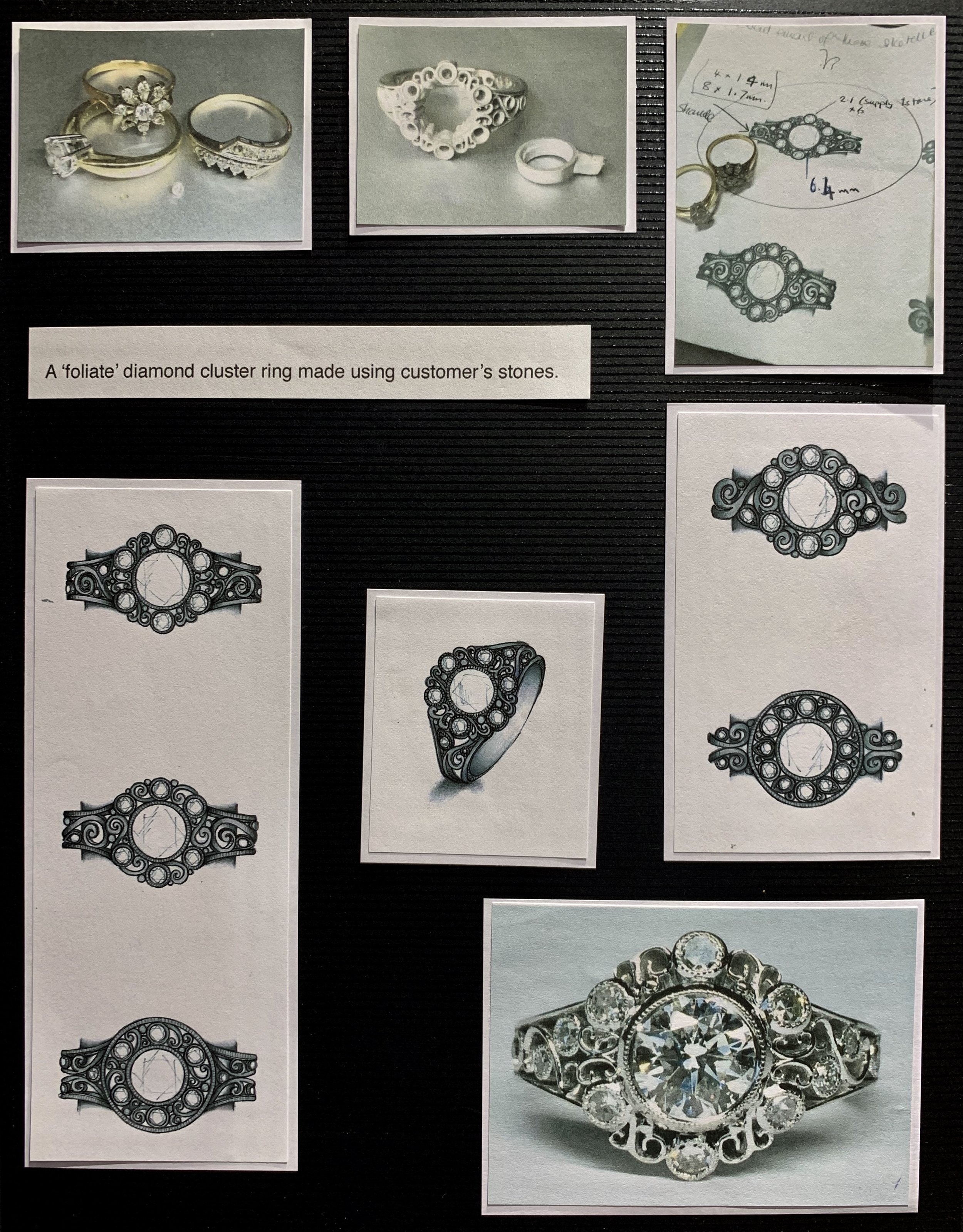 Redesign of diamonds from a customers' various rings.