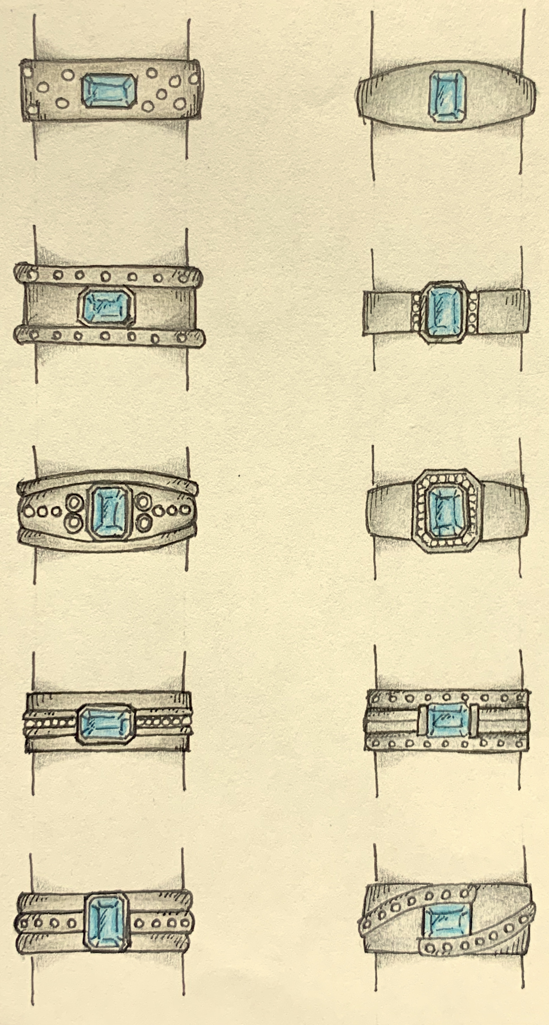 Choices for remounting a customer's aquamarine and small diamonds.