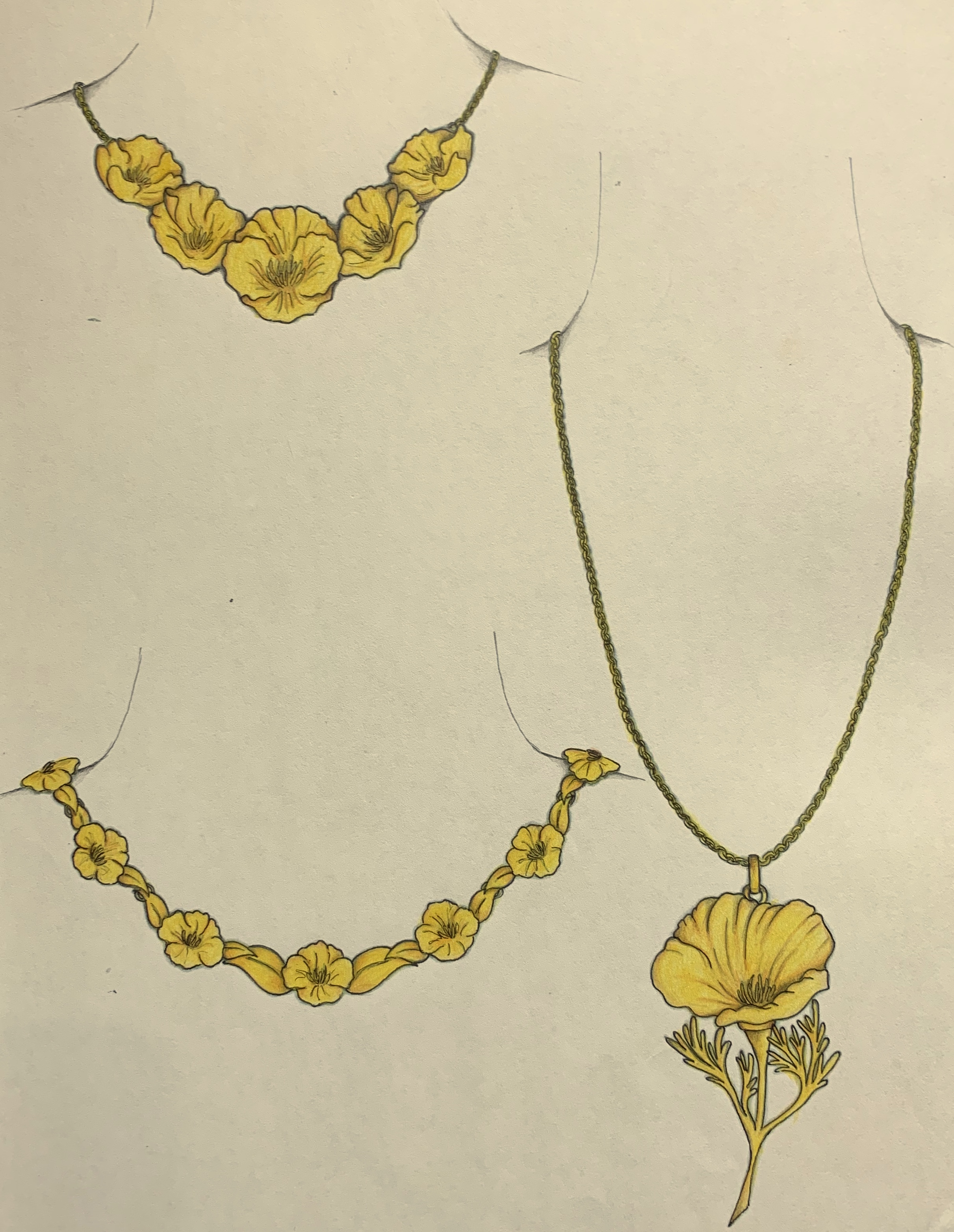 California poppy designs for a necklace.