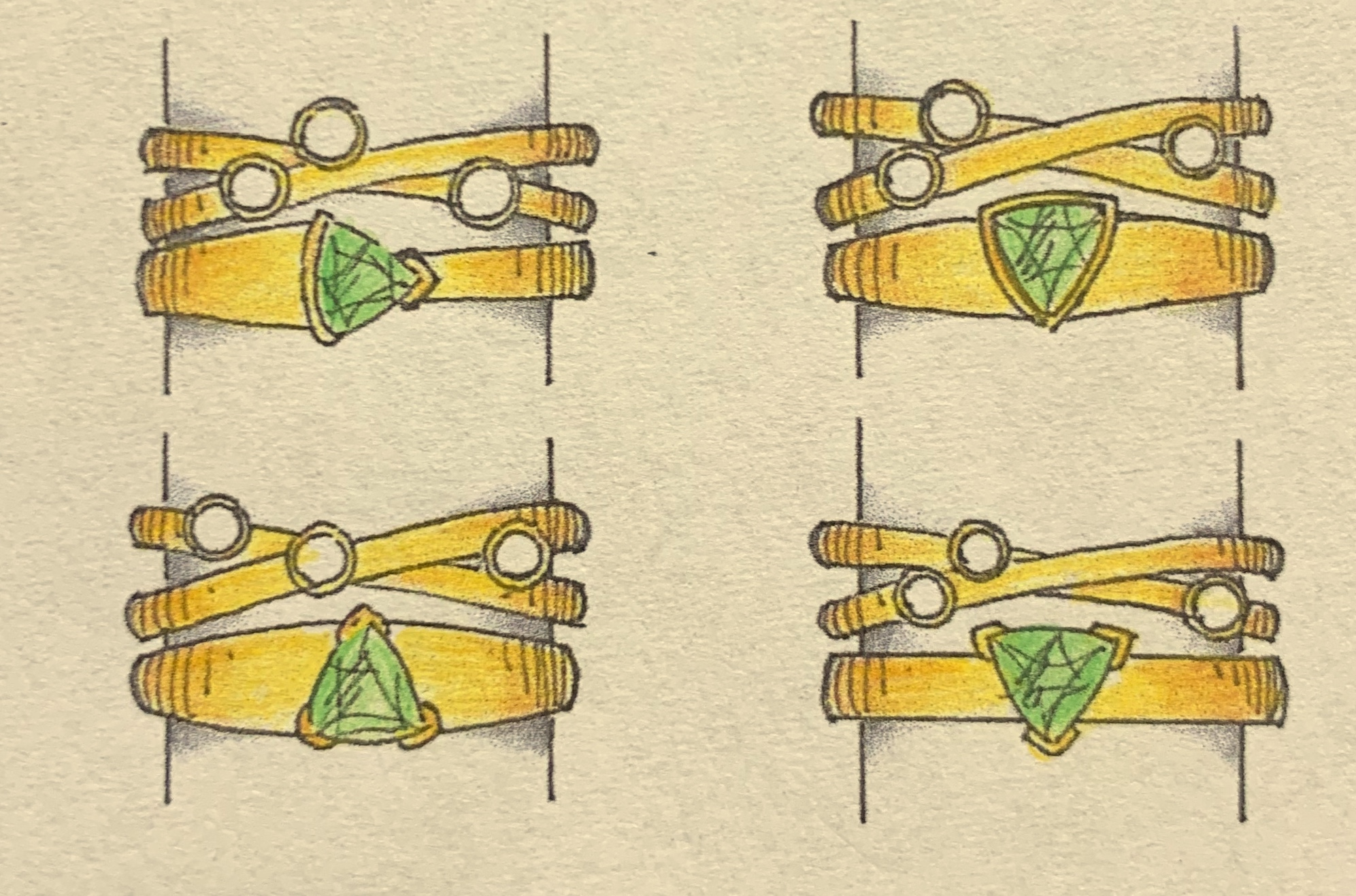 Four designs for remounting a customers stones into two fitting rings.