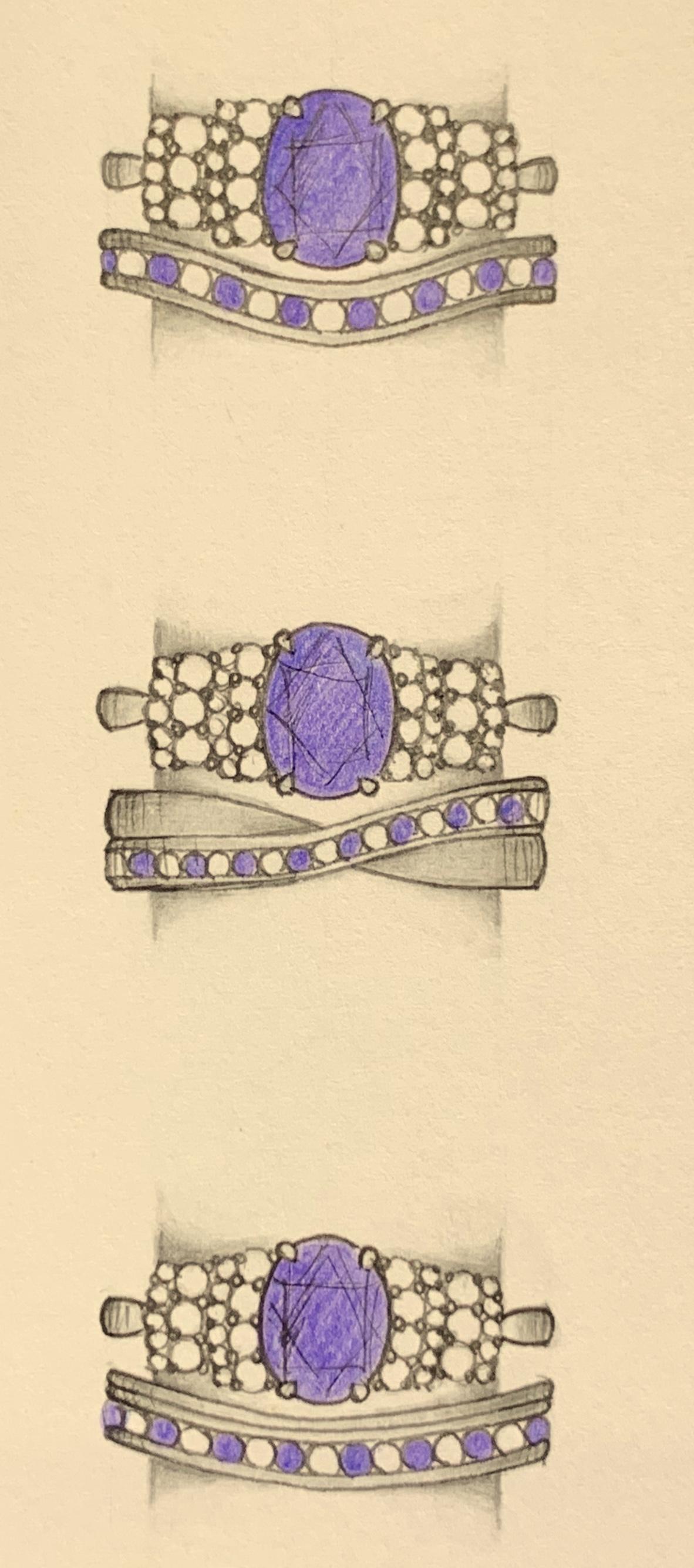 Designs fro a matching shaped diamond and tanzanite set eternity ring.