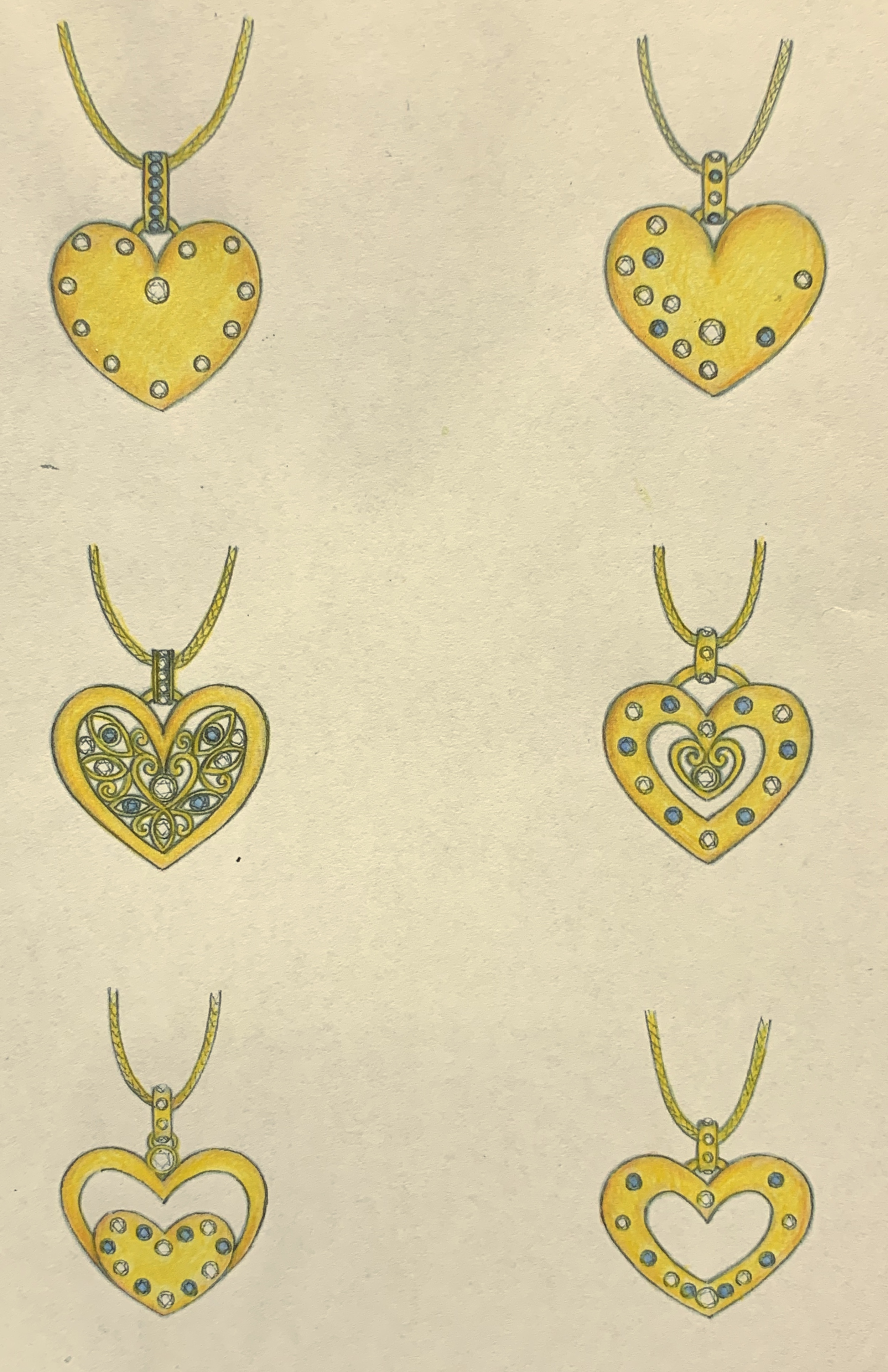 Designs for a heart pendant using customers own diamonds and sapphires.