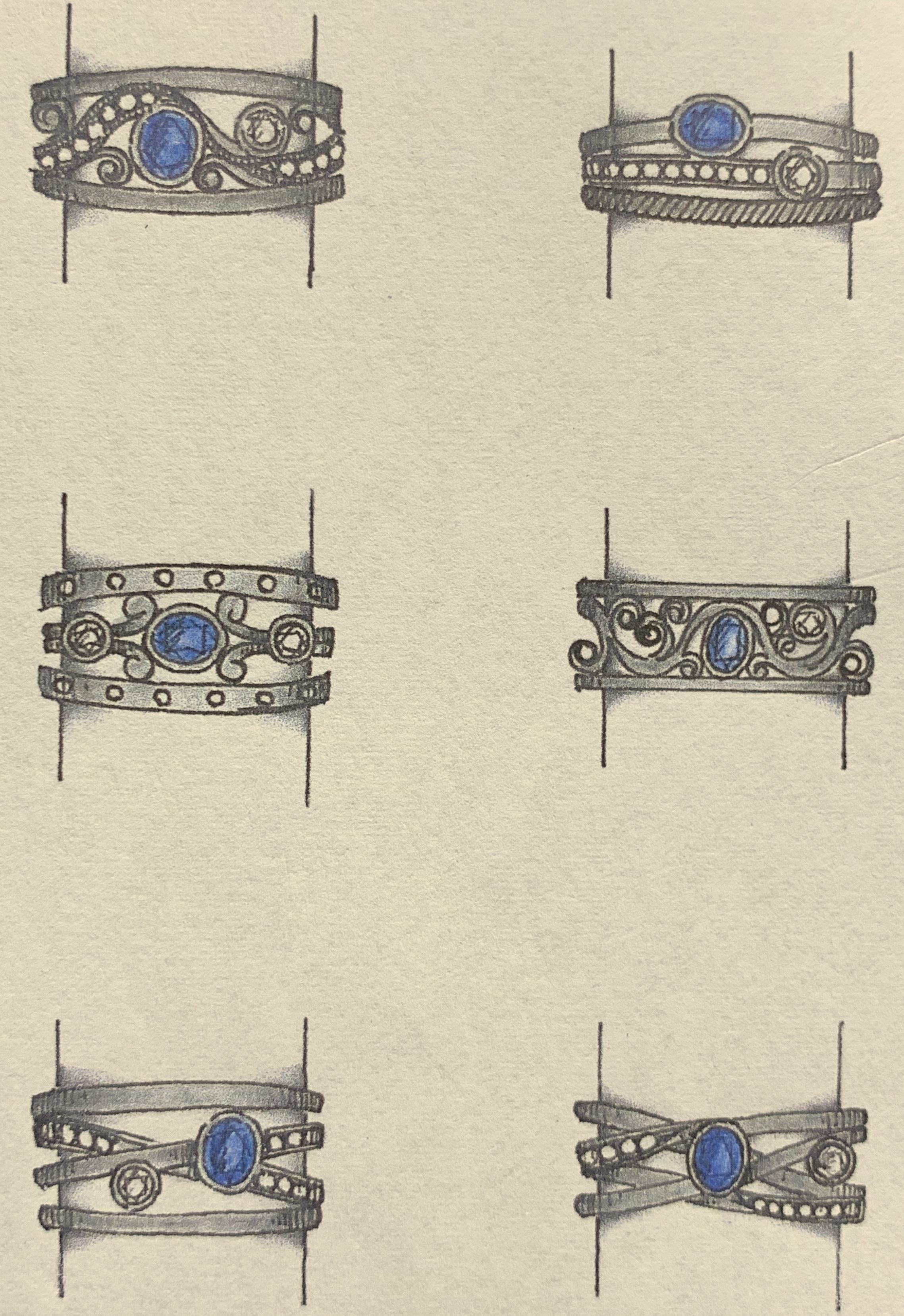 New designs using a customer's sapphire and diamonds.