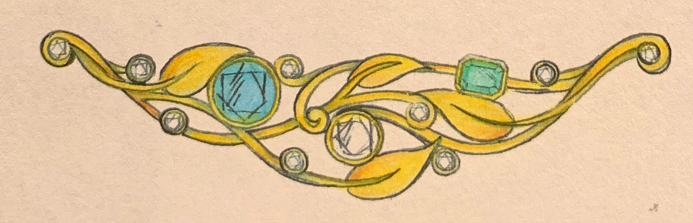 Emerald, blue topaz and diamond necklace - chain to be added.
