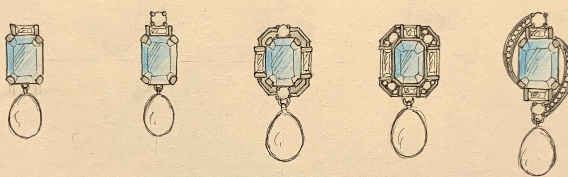 Designs for aquamarine, round and baguette diamond with detachable drop pearl.