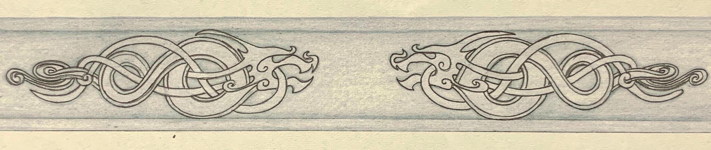 Celtic influenced ring design, laid flat.