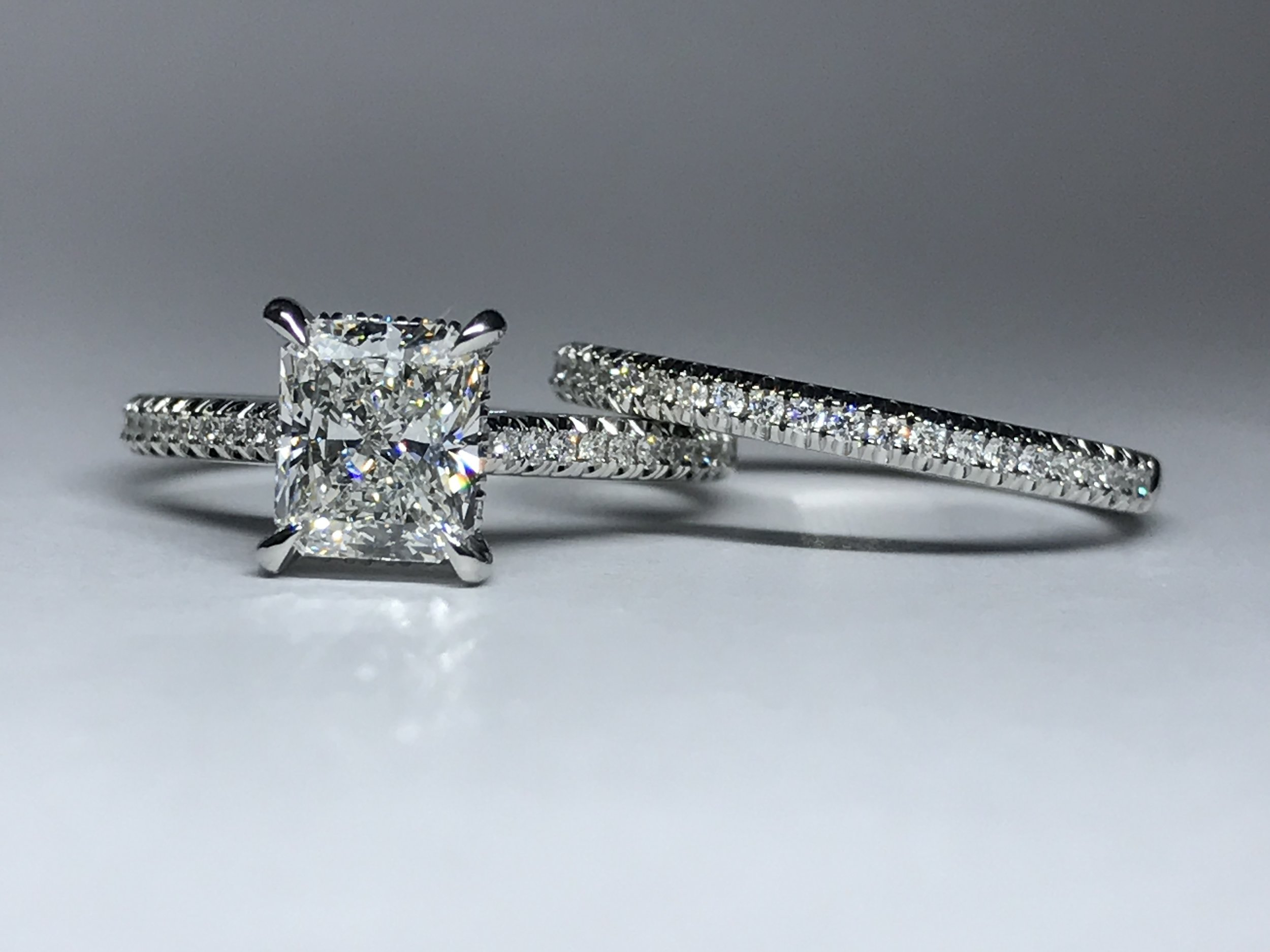 Copy of Bespoke mount made for customers own diamond with matching diamond set band. Made in Chichester, England.