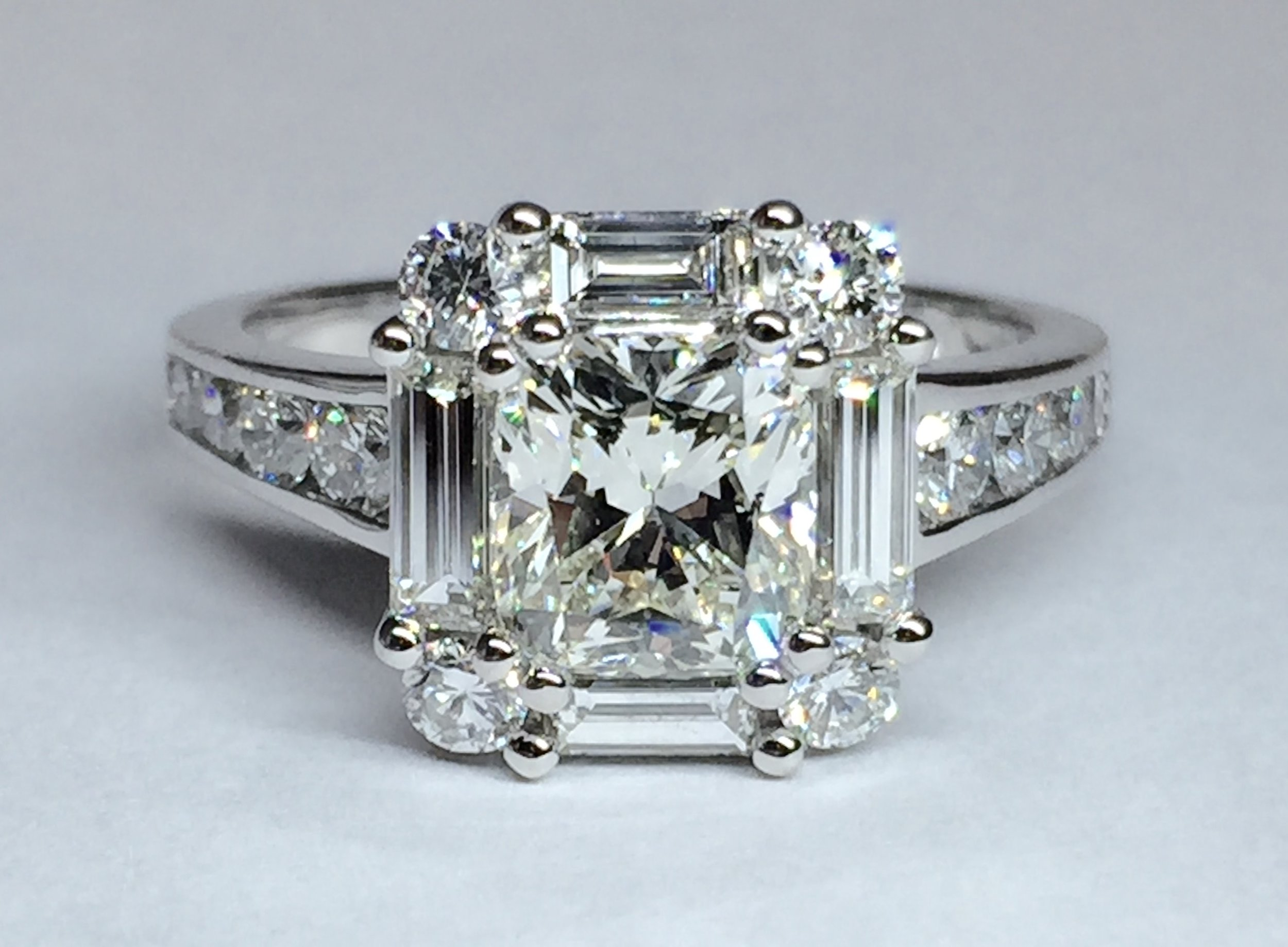Copy of New mount made for customers centre cushion cut diamond. Made in Chichester, England.