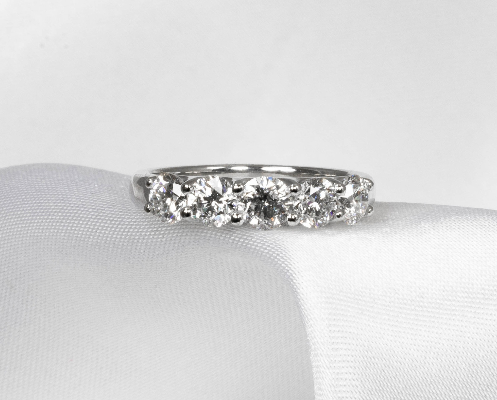 Copy of Five stone claw set platinum ring. Made in Chichester, England.