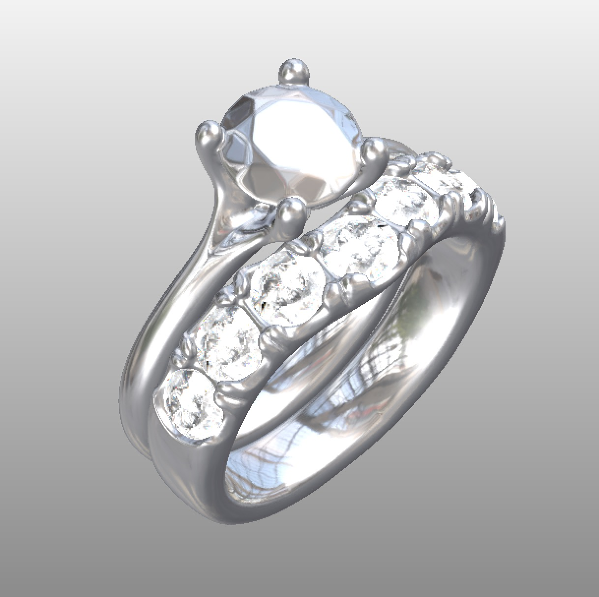 Copy of 3d scanned engagement ring with cad design diamond wedding ring to be made with customers own diamonds.