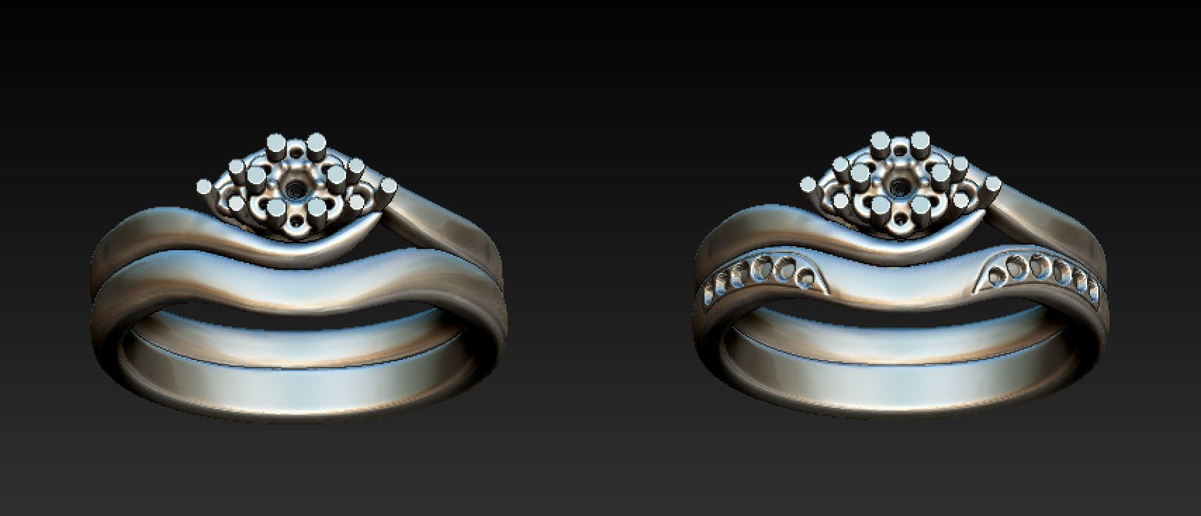 Copy of Cad designs for shaped and fitted wedding ring.