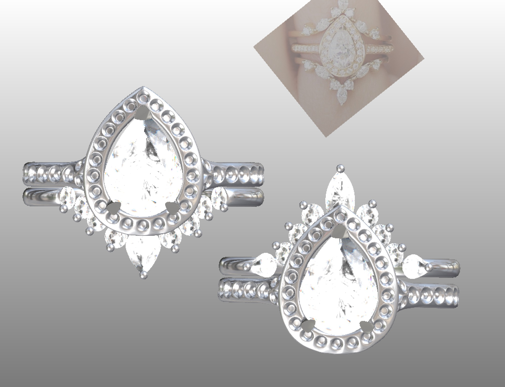 Copy of Options with slight variations onfancy diamond set wedding ring to fit with pear shaped diamond cluster.