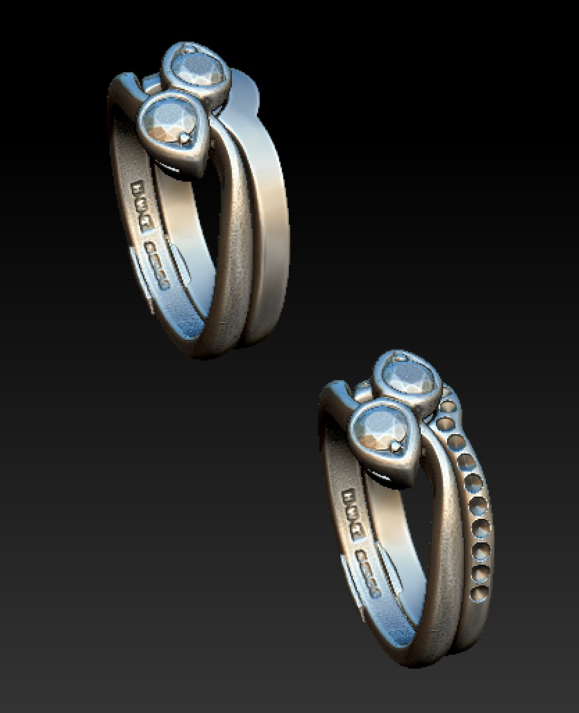 Copy of 3d scanned two stone twist engagement ring with CAD model for a shaped and fitted plain or diamond set wedding band.