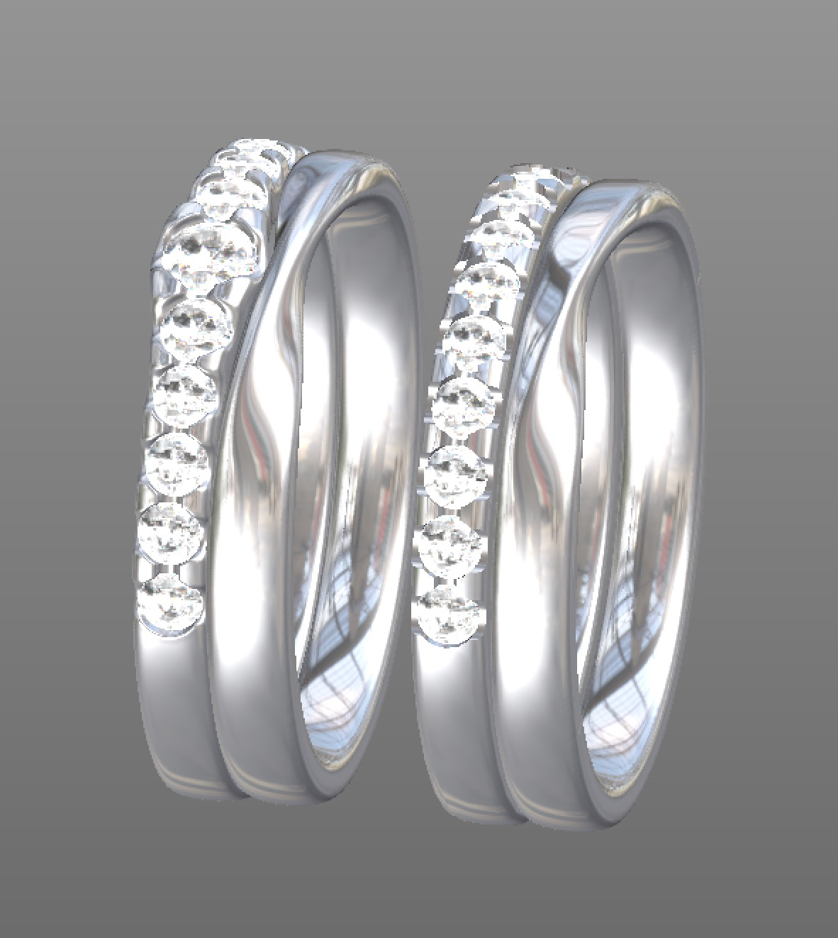Copy of CAD work for options on a graduated diamond band with soft twist centre wedding band and straight diamond set band with sharper edged twist centre wedding band.