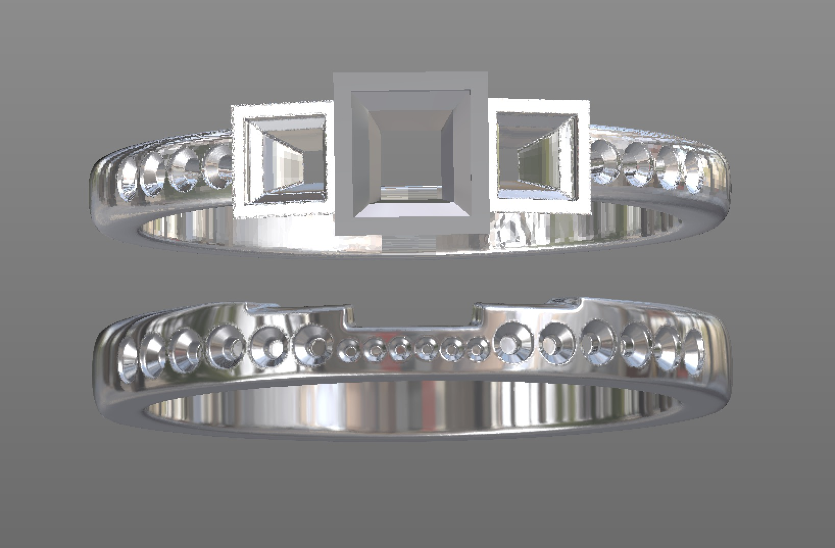 Copy of CAD work for fitted stepped tightly fitted wedding ring. CAD work.