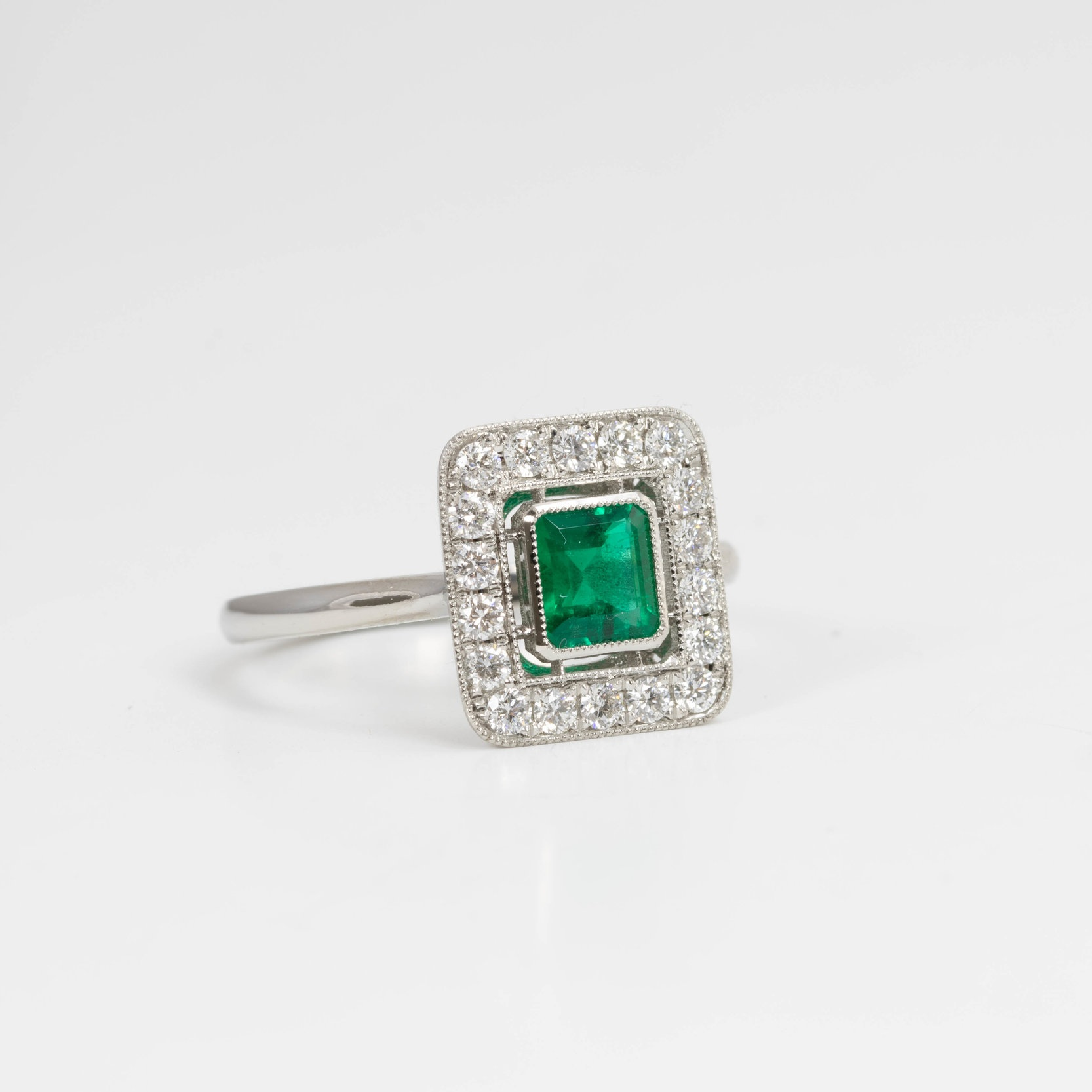 Copy of Pretty emerald and diamond set square cluster ring. Made in Chichester England.