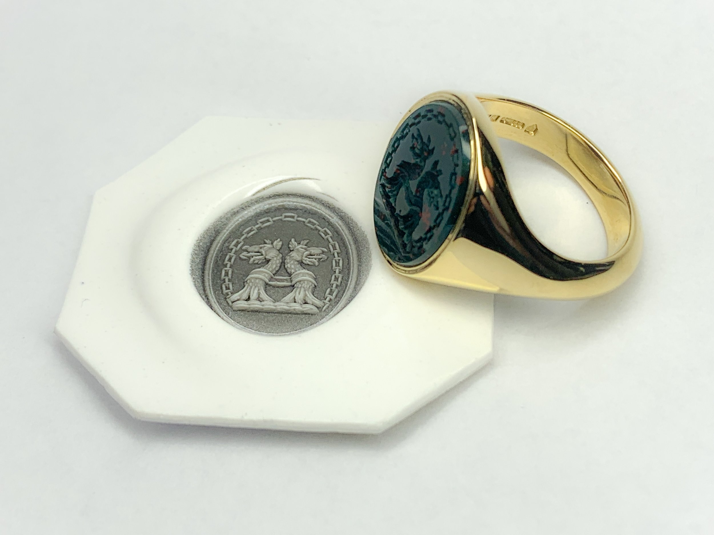 A bespoke 18ct and bloodstone seal engraved signet ring. Made in Chichester, England (engraving outsourced).