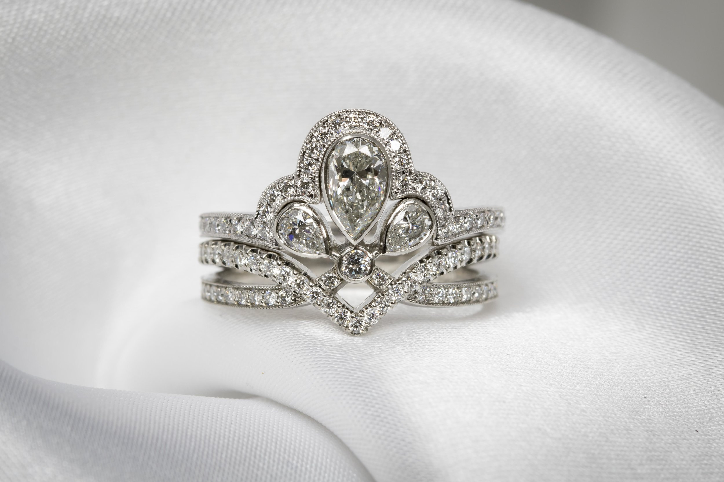 Both diamond and platinum rings fitting perfectly together.
