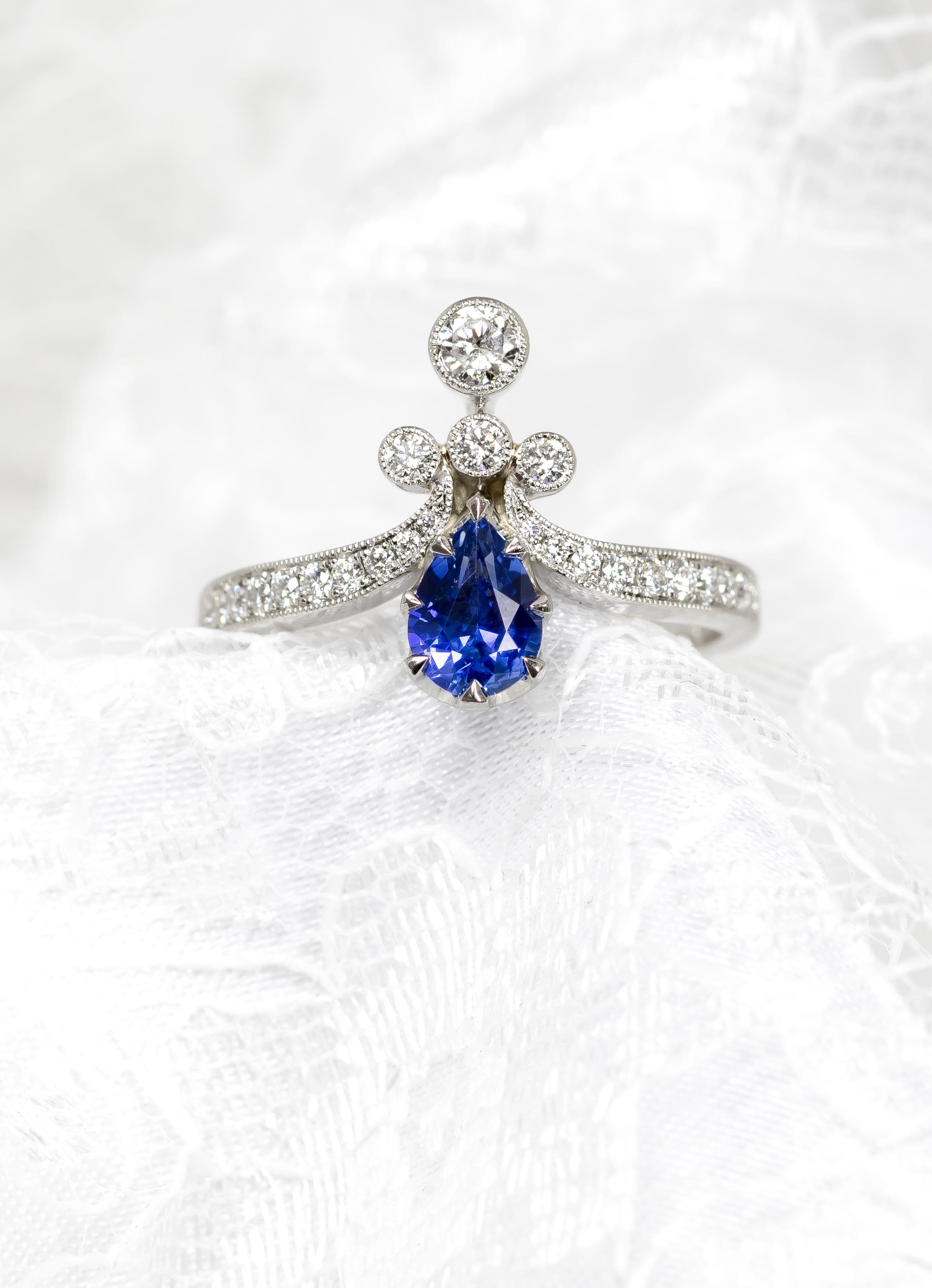 Platinum mounted pear-shaped sapphire and diamond Edwardian style tiara ring. Made in Chichester, England.