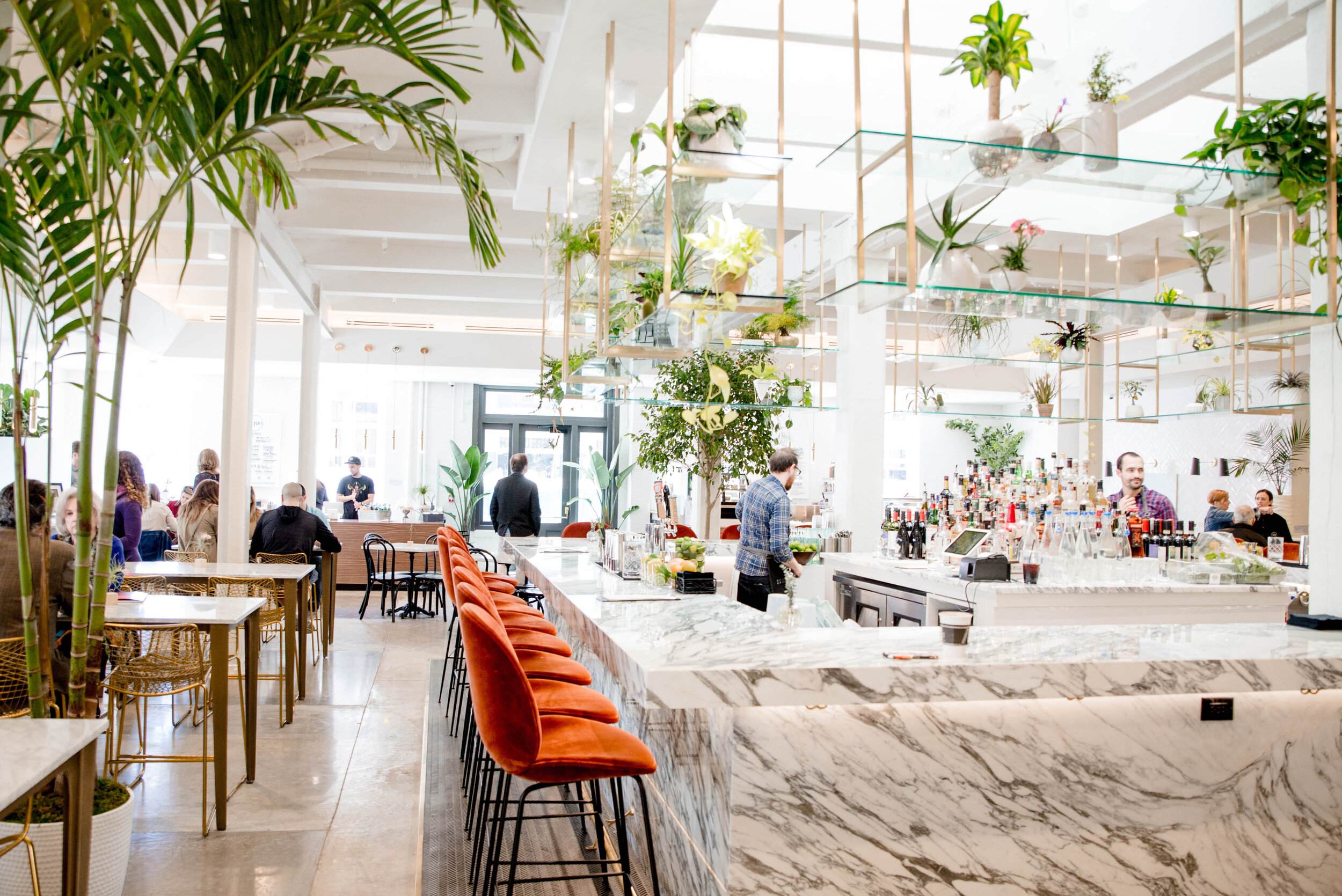 With all the plants, marble, and brass, who wouldn't feel fancy here?