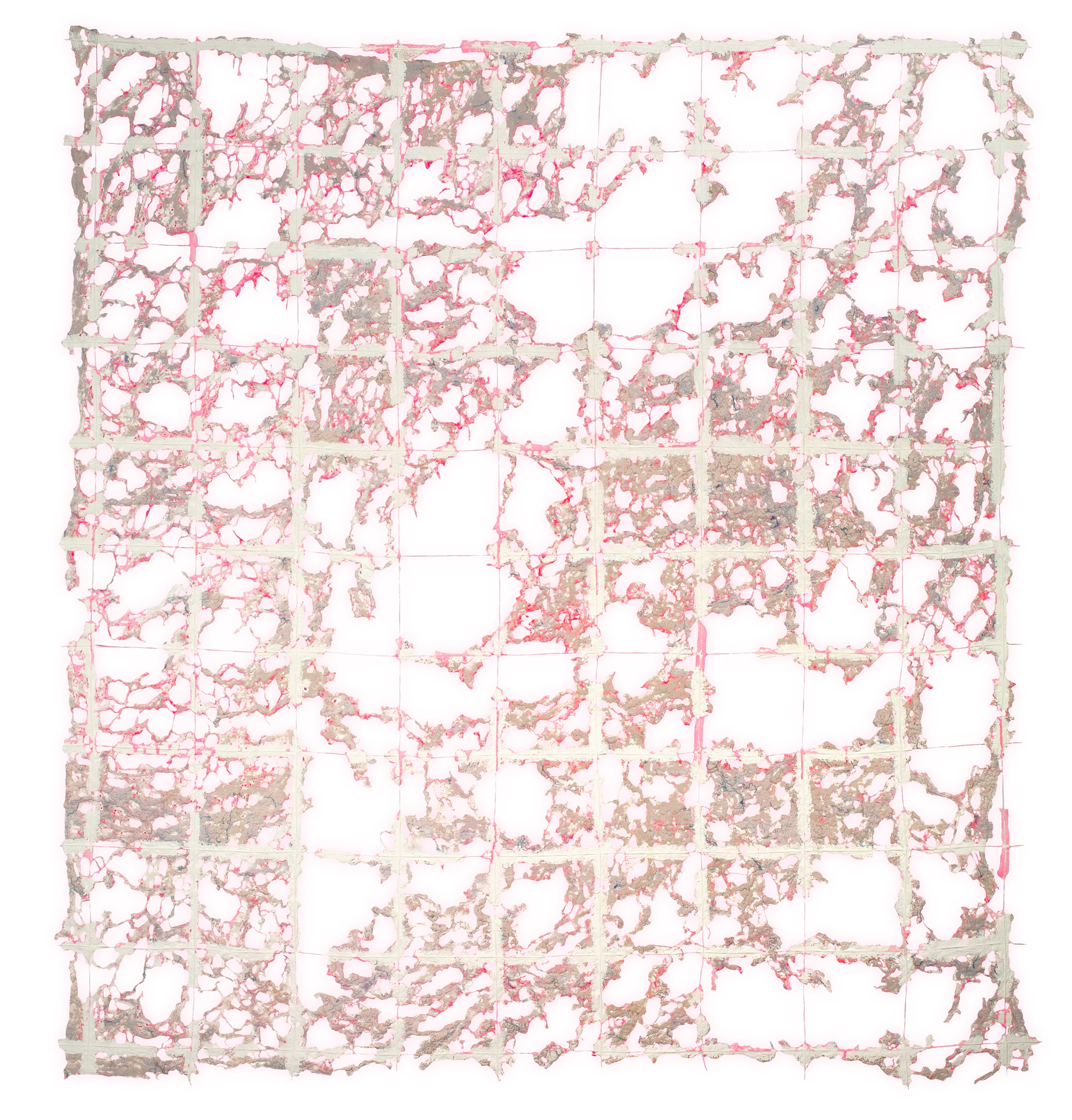 Safety Net  Deconstructed quilt, cotton thread, fabric, and acrylic, 90 x 82 inches.