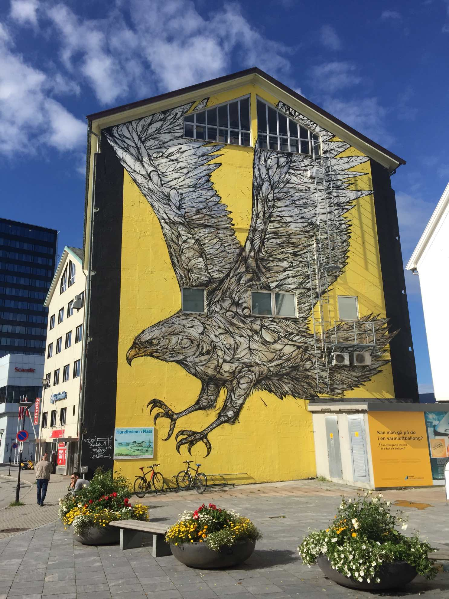 """Der """"Goldene Adler"""" eines belgischen Street-Art-Künstlers entstand im Rahmen eines Festivals der Graffiti-Kunst in Bodø."""