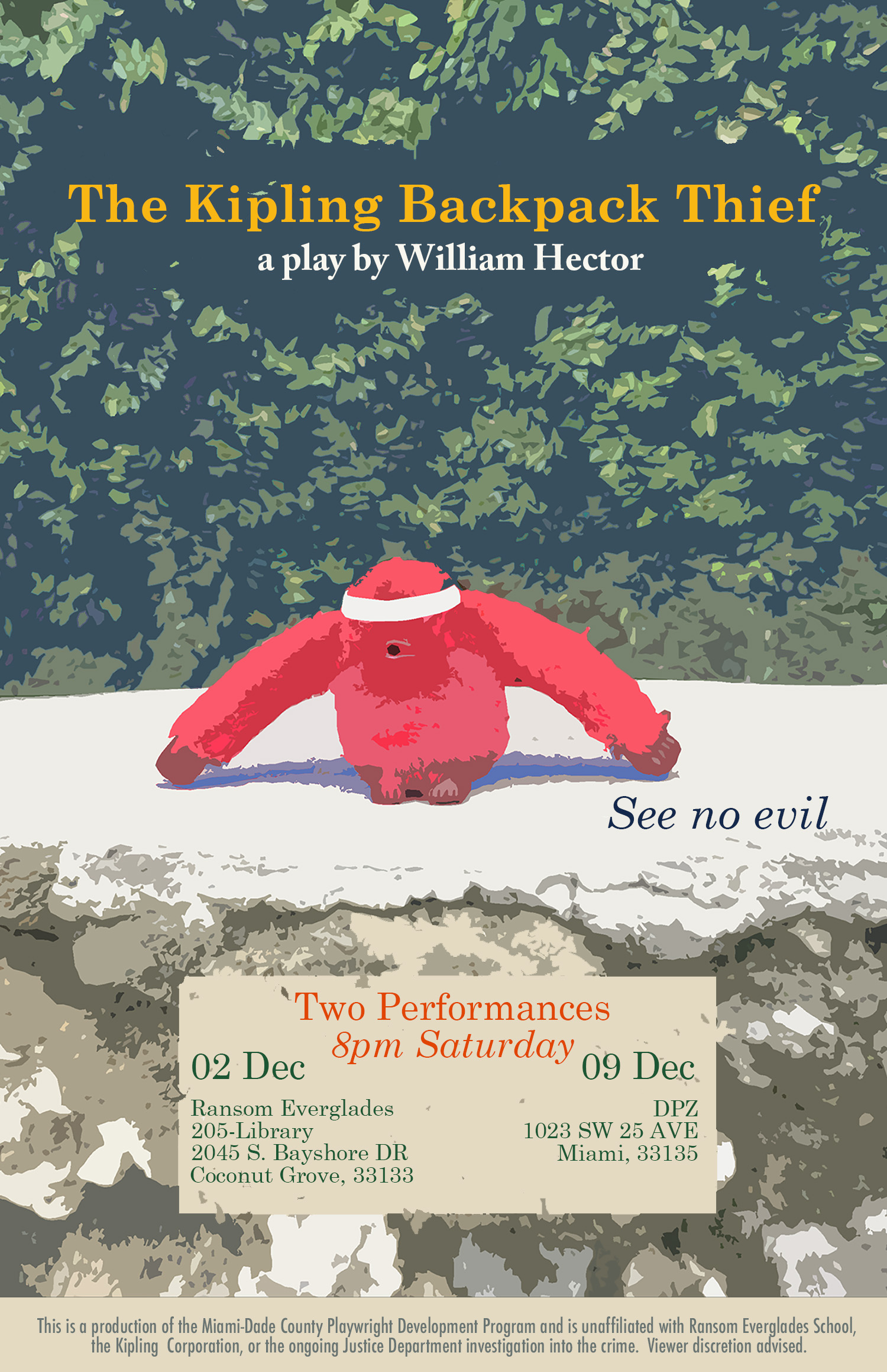 Promotional poster for the December 2nd and December 9th readings of The Kipling Backpack Thief. Poster design by Joanna Lombard.