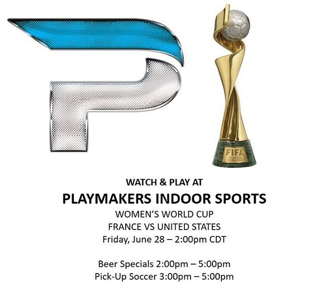 Come watch the US Women's National Team take on France in the World Cup Quarterfinals this Friday at 2:00pm at Playmakers Indoor Sports! We will have beer specials running from 2:00-5:00pm and pick-up soccer from 3:00-5:00pm. Go USA!!!🇺🇸 #uswnt #womensworldcup2019 #beerspecials #pickupsoccer #playmakersnorthshore