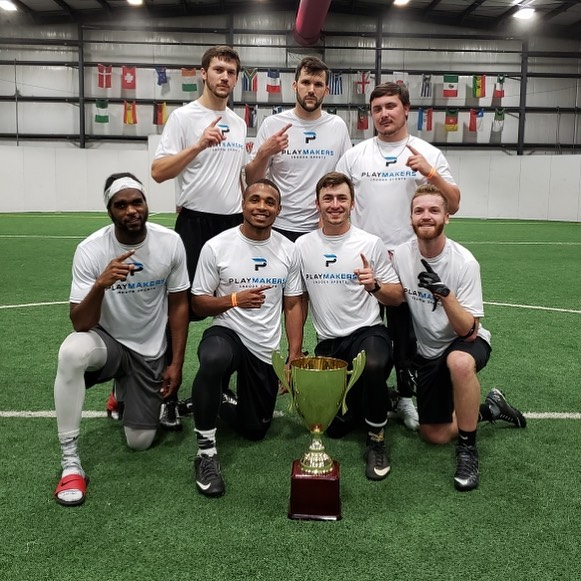 Here are our latest Adult Flag Football Champions - Tune Squad!!! 🏆🎉🏈👍 Our next season starts August 5th. All games are on Monday nights on our indoor field. Call us at 985-898-2809 if you have a team and want to play! #flagfootball #champions #covingtonla #playmakersnorthshore