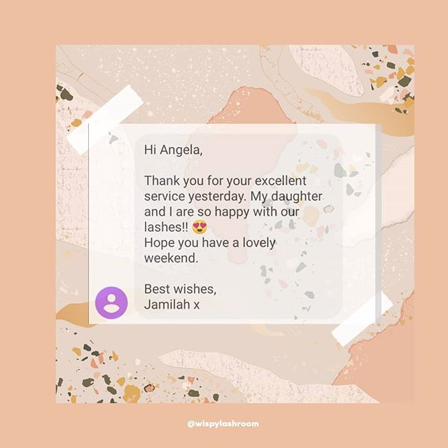 ✨✨✨Client Feedback ✨✨✨ Wispy is for you, your feedback is appreciated in fact needed!  I will always do my best to serve you in the best away possible , by putting my all into the business, ensuring safety and a relaxing space where you can reset and leave feeling fabulous!  Oh and I got some sweets for you too! 😋  Angela xx