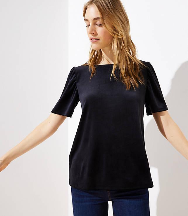 The blouse - Velvet Puff Sleeve Tee