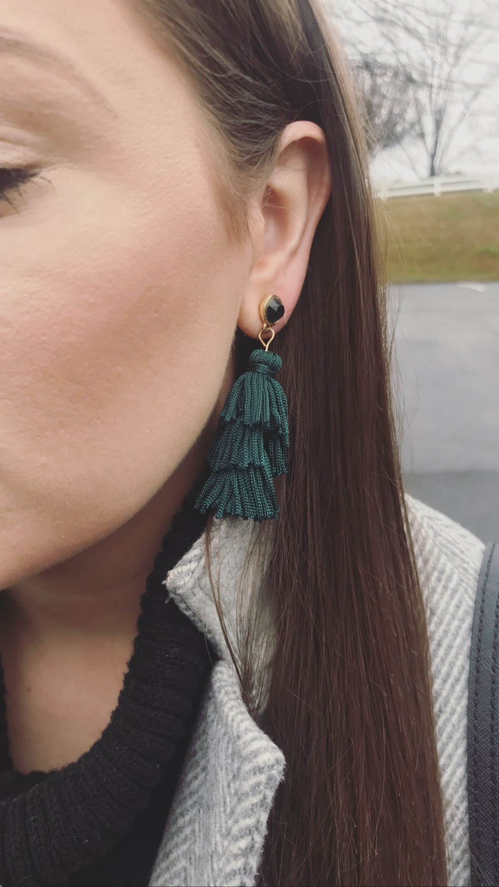 I normally only like green when it's money, but these earrings are worth it. - Stone Tassel Earrings in the color Jade by LOFT. My husband picked these out for me. (: