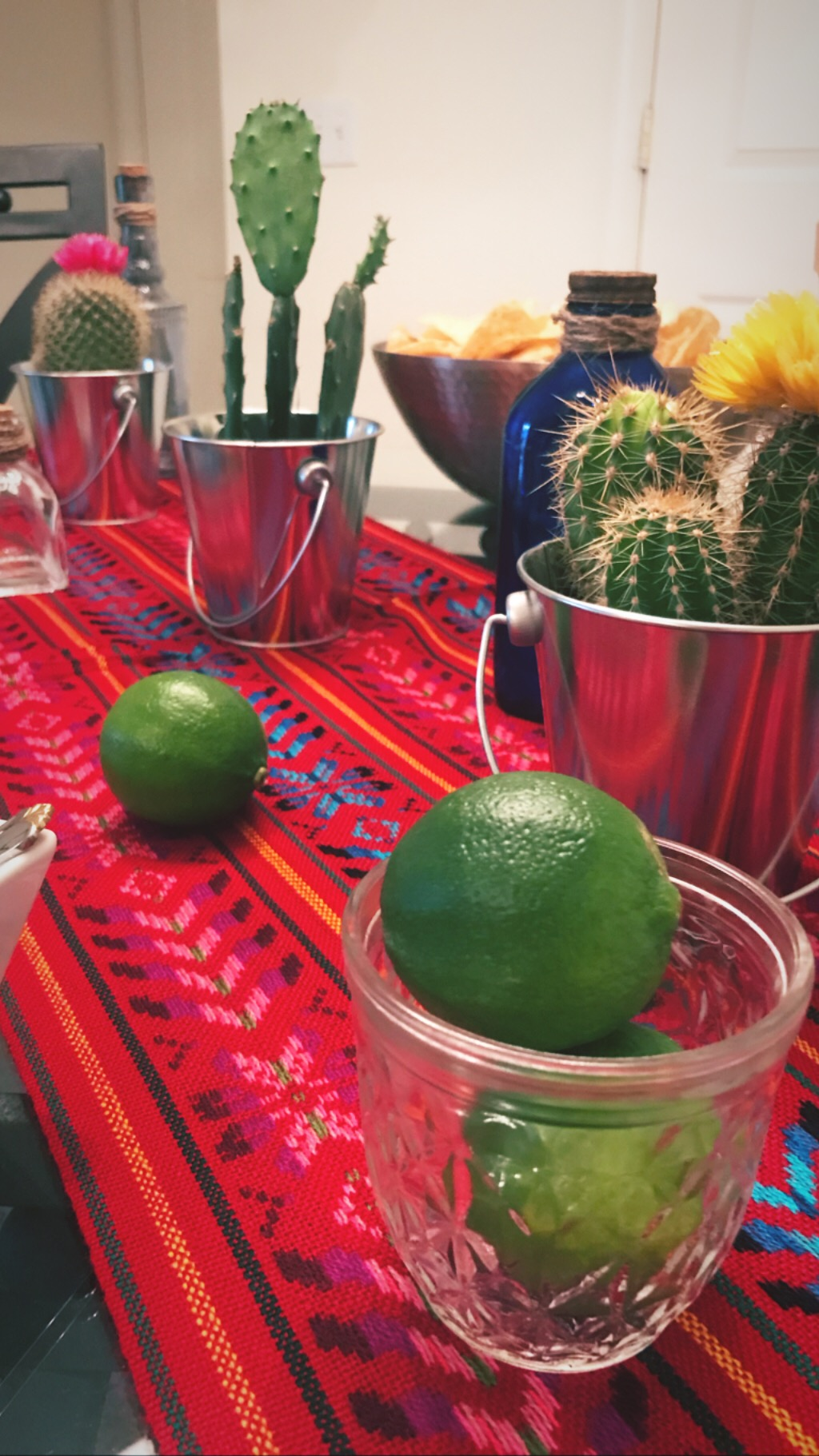 Limes on Limes - Limes in jars, limes sprinkled around the tablescape, and limes as food markers. When life gives you limes, use them for everything!