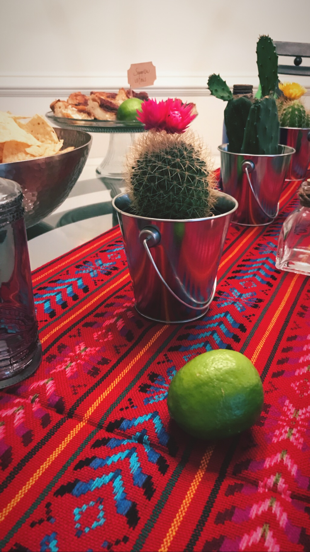 What's a fiesta with cacti?! - I purchased these live cacti at Home Depot and placed them in mini silver buckets from Bullseye's Playground at Target.