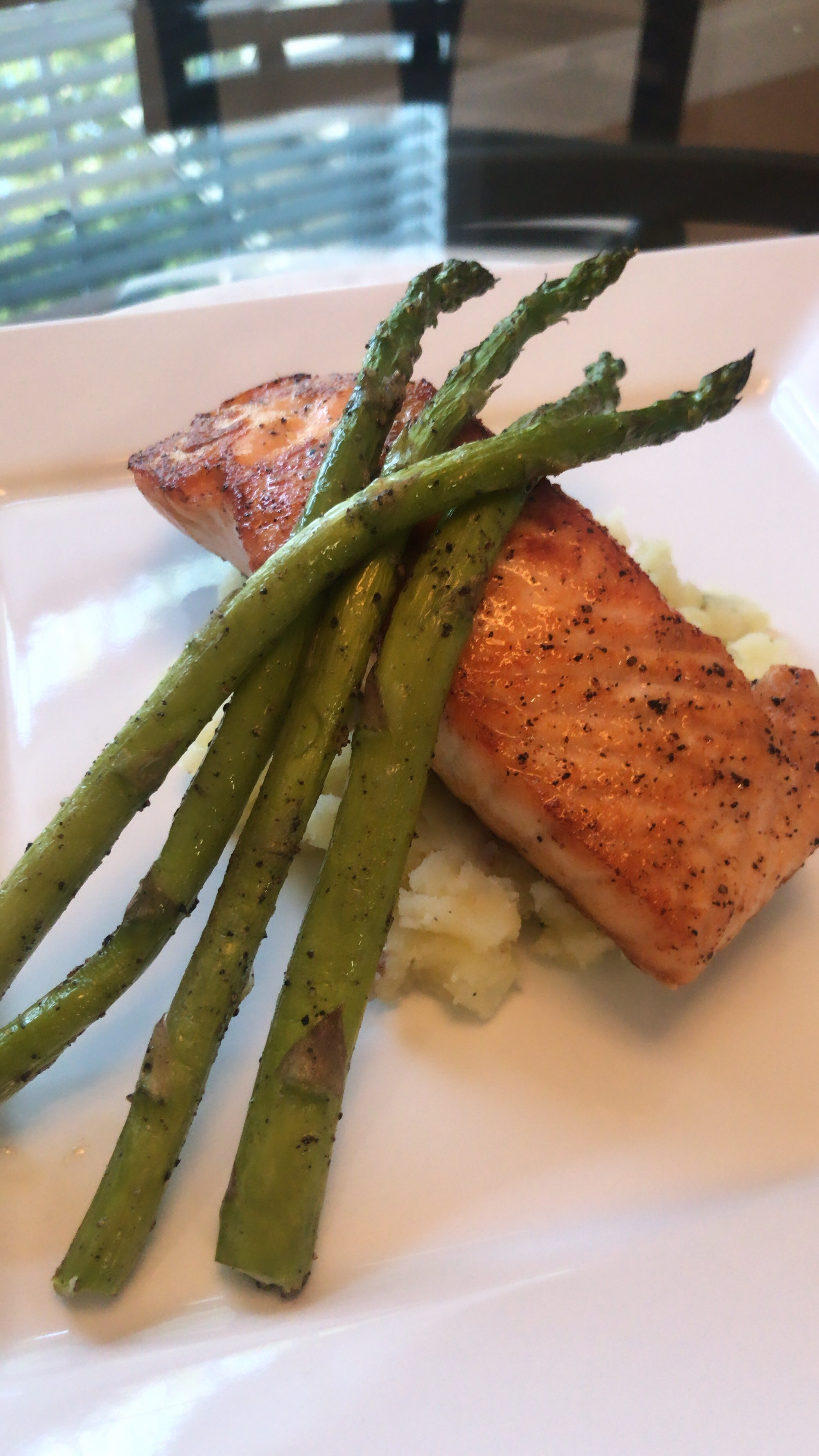 Salmon, Roasted Asparagus, + Smashed Red Potatoes -