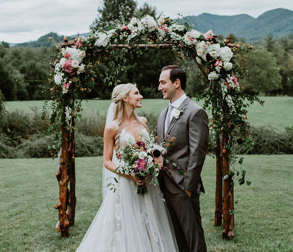 Urban Farm Girl Flowers can handle all your floral wedding decor needs from a beautiful bridal bouquet to a ceremony arch or ceremony arbor that will make your day look beautiful. Photo © Folk and Wayfarer http://folkandwayfarer.com/