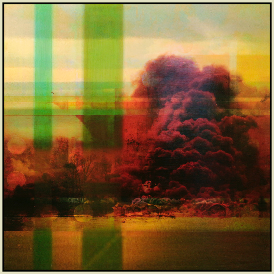 "Red Smoke, Green Plaid, oil paint and archival ink on board, 44"" x 44"", 2013"