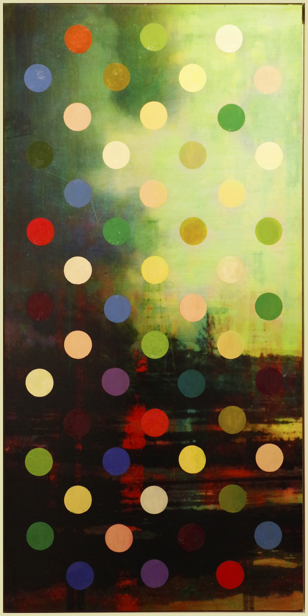 "Polka Dot Oil Patch, oil paint and archival ink on board, 72"" x 36"", 2013-2014"